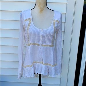 Free people beautiful blouse with long bottom